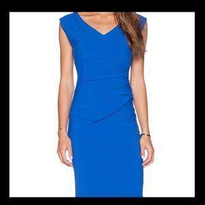 Diane von Furstenberg DVF Bevin Blue Ruched Dress